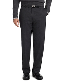 Madison Fit Plain-Front Unfinished Gabardine Trousers
