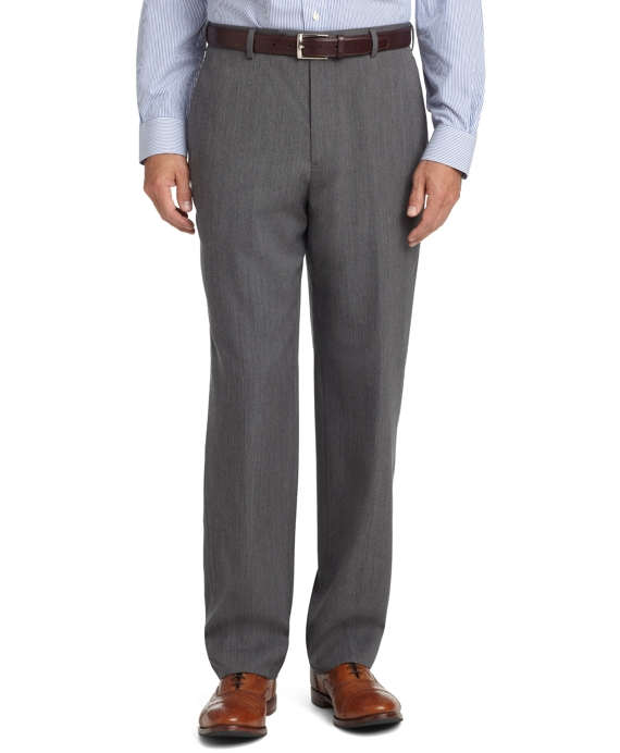 Madison Fit Plain-Front Unfinished Gabardine Trousers Light Grey