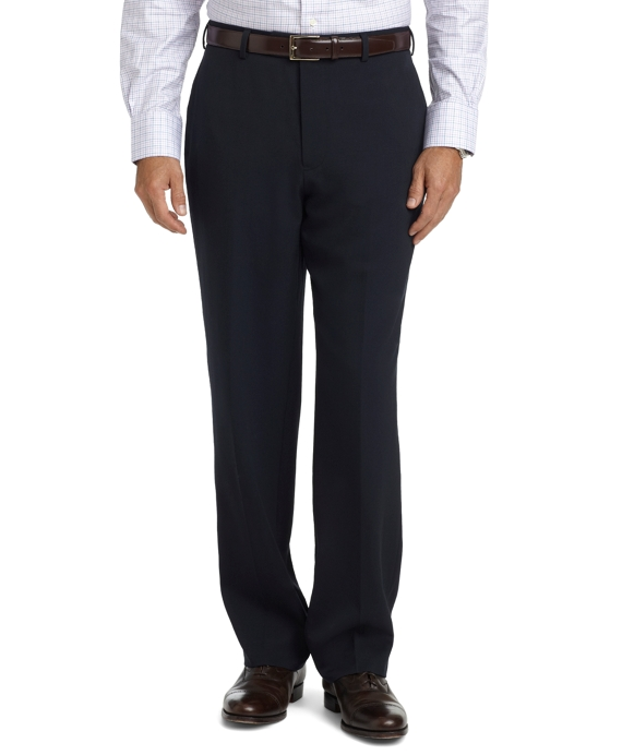 Madison Fit Plain-Front Unfinished Gabardine Trousers Navy