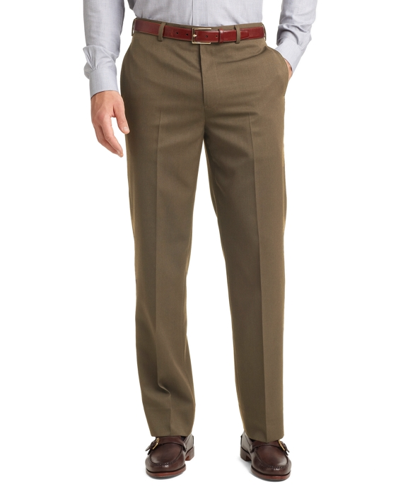 Madison Fit Plain-Front Unfinished Gabardine Trousers Olive