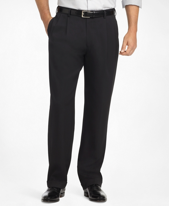 Madison Fit Pleat-Front Classic Gabardine Trousers Black