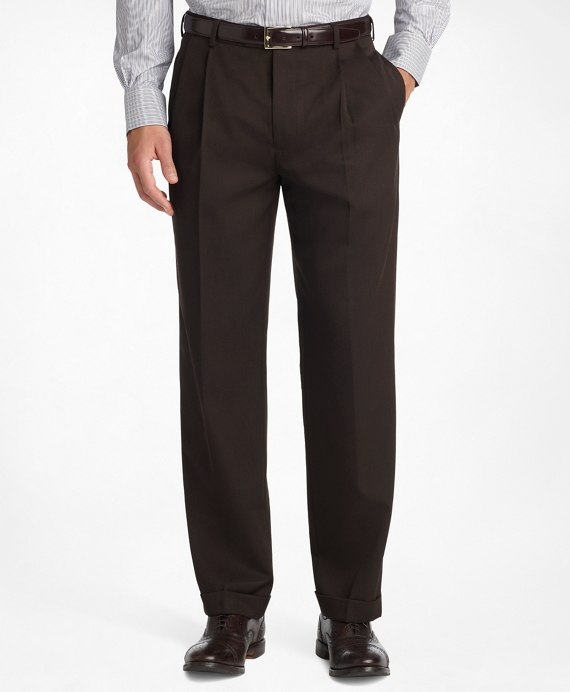Madison Fit Pleat-Front Classic Gabardine Trousers Brown