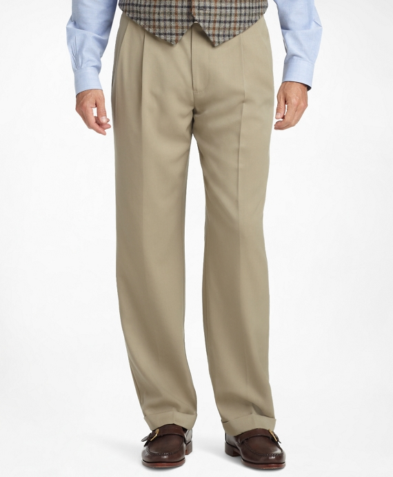 Madison Fit Pleat-Front Classic Gabardine Trousers Light Tan