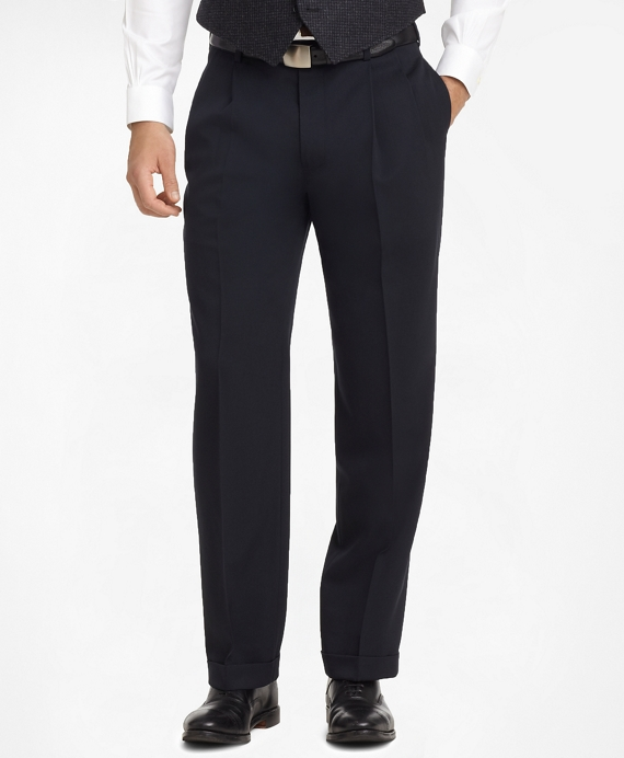 Madison Fit Pleat-Front Classic Gabardine Trousers Navy