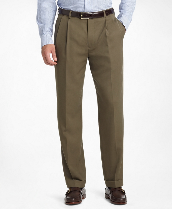 Madison Fit Pleat-Front Classic Gabardine Trousers Olive