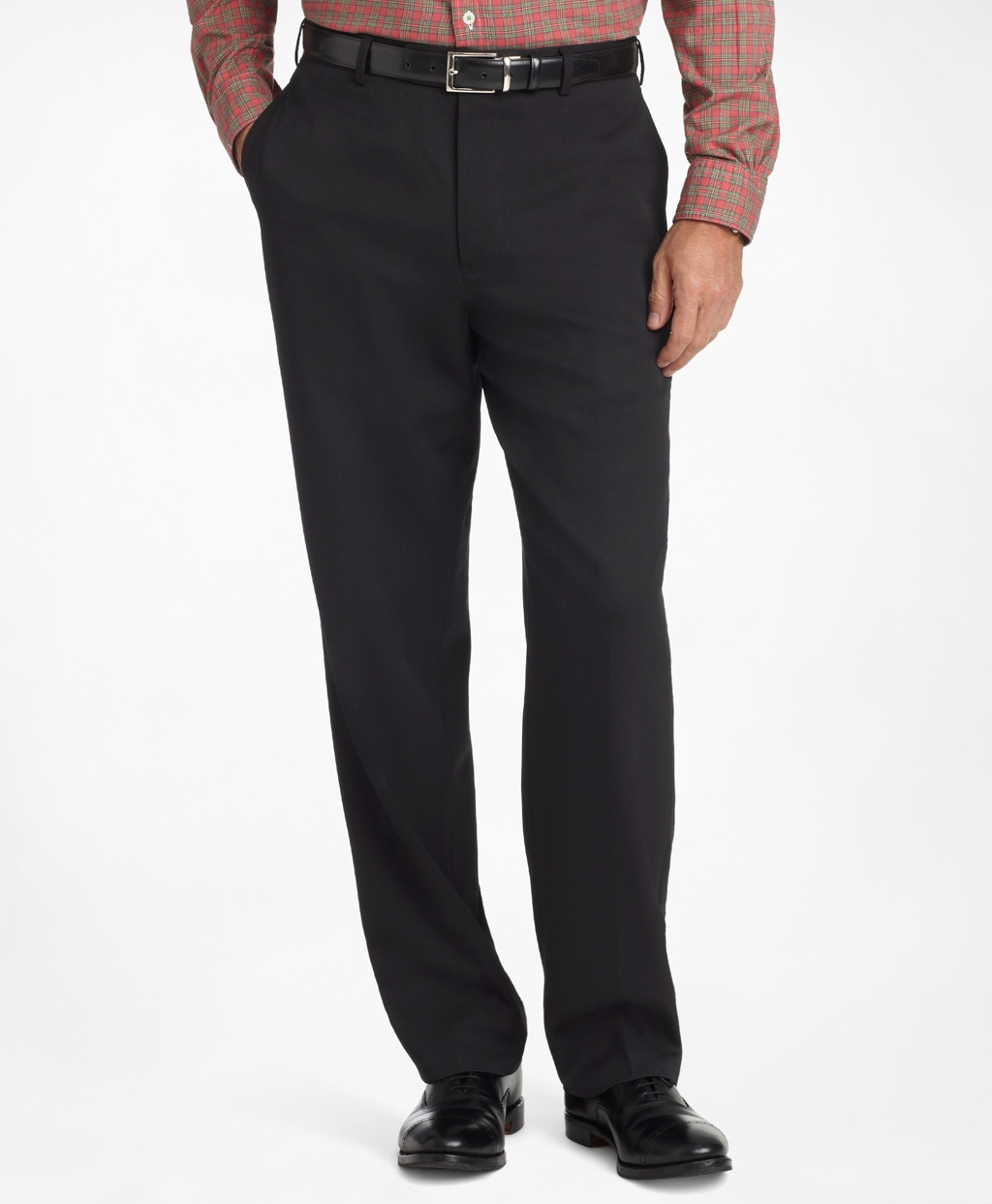 Product Features Flat-front straight-leg pant with fixed front waistband and elasticized back.