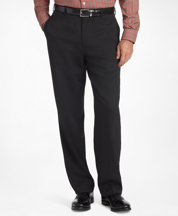 Madison Fit Flat-Front Classic Gabardine Trousers Black