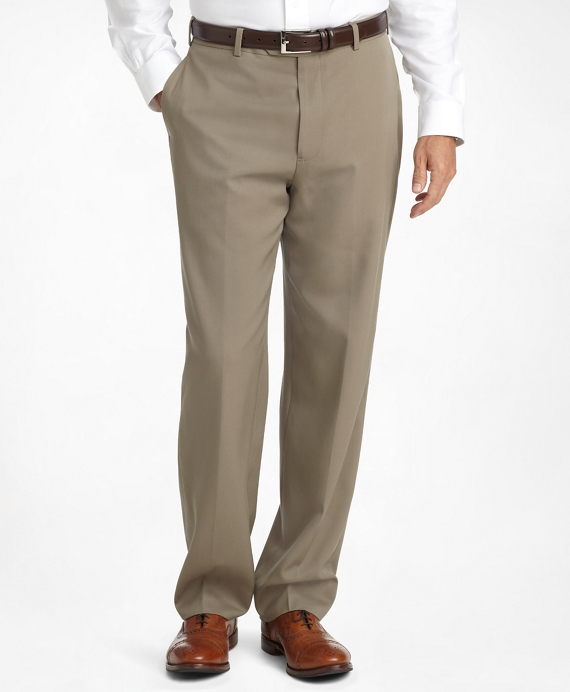 Madison Fit Plain-Front Classic Gabardine Trousers British Tan