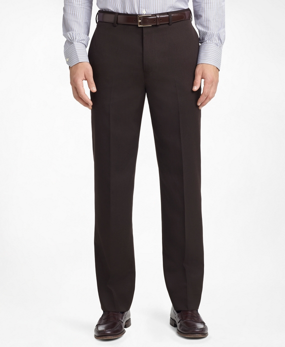 Madison Fit Plain-Front Classic Gabardine Trousers Brown