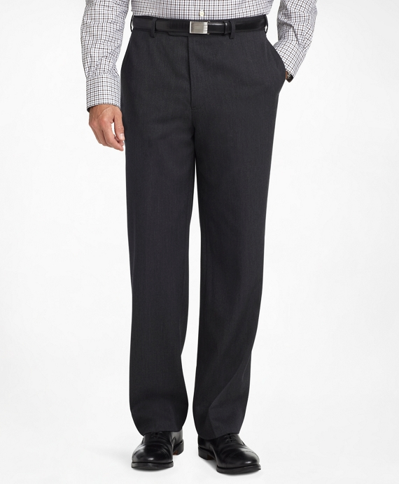 Madison Fit Plain-Front Classic Gabardine Trousers Charcoal