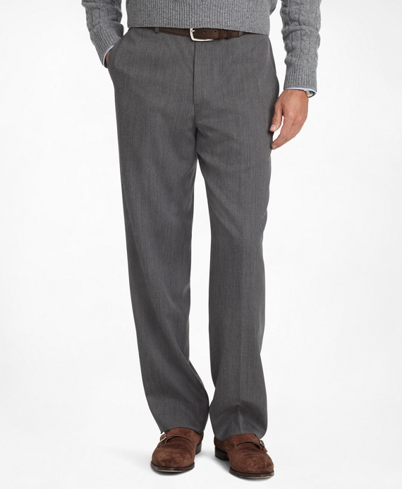 Madison Fit Plain-Front Classic Gabardine Trousers Light Grey