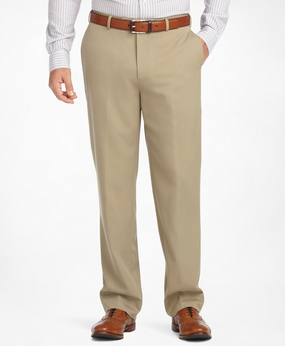 Madison Fit Plain-Front Classic Gabardine Trousers Light Tan