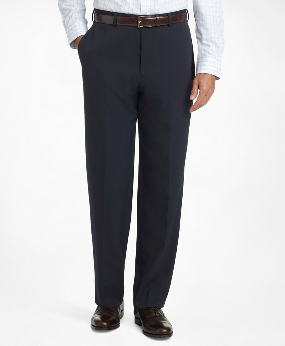 Madison Fit Plain-Front Classic Gabardine Trousers Navy