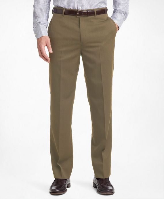 Madison Fit Plain-Front Classic Gabardine Trousers Olive