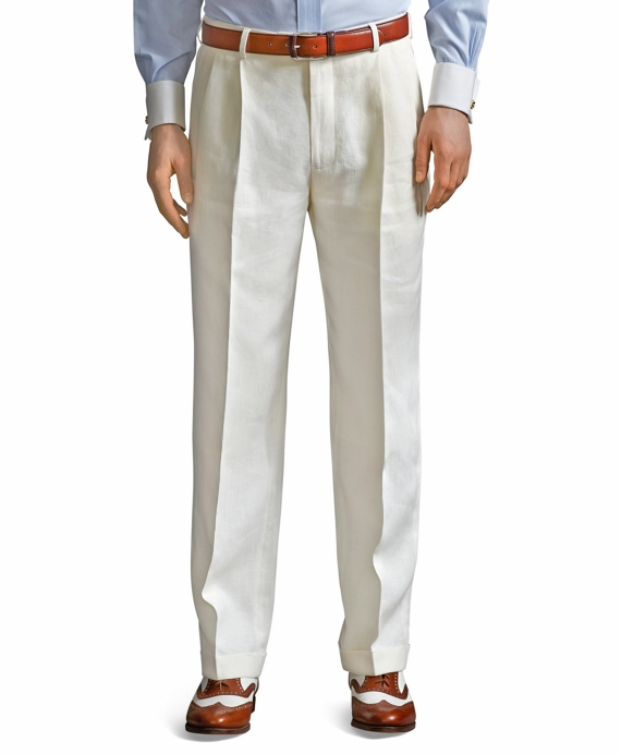 Madison Fit Pleat-Front Classic Gabardine Trousers Ivory