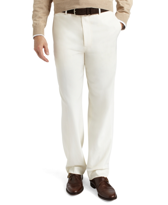 Madison Fit Plain-Front Classic Gabardine Trousers Ivory