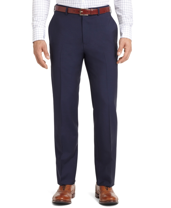 Plain-Front Mohair Dress Trousers Navy