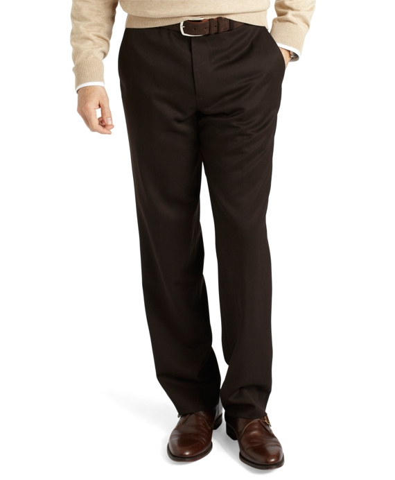 Regent Fit Plain-Front Classic Gabardine Trousers Brown