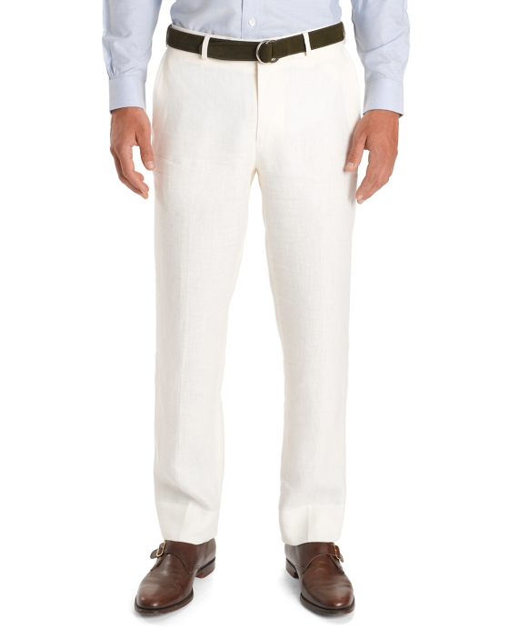 Fitzgerald Fit Plain-Front Herringbone Trousers Ivory