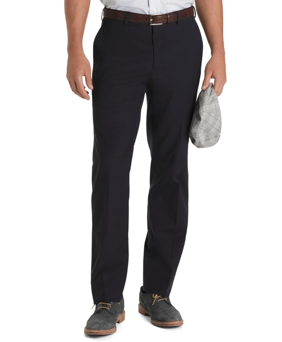 Regent Fit Plain-Front Travel Trousers Navy