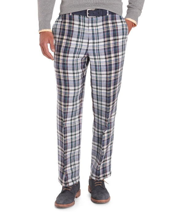 Madison Fit Tartan Linen Trousers Multi
