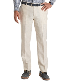 Milano Fit Ivory Plaid Linen Trousers