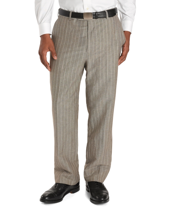Madison Fit Wide-Stripe Linen Trousers Ivory