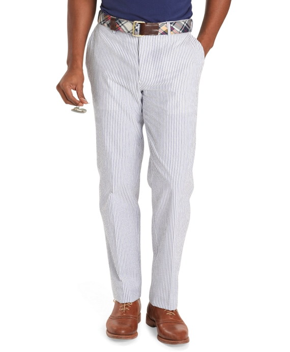 Milano Fit Seersucker Trousers Navy-White