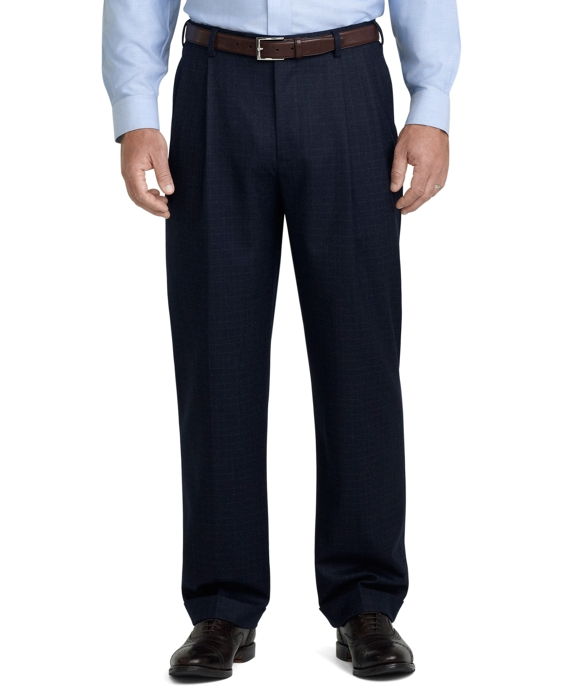 Madison Fit Mini Tattersall Pleated Trousers Navy