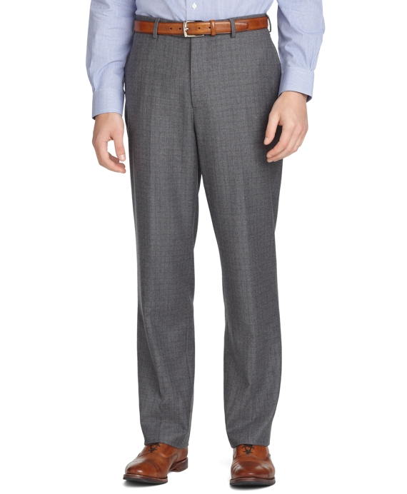 Madison Fit Plain-Front Flannel Trousers Light Grey