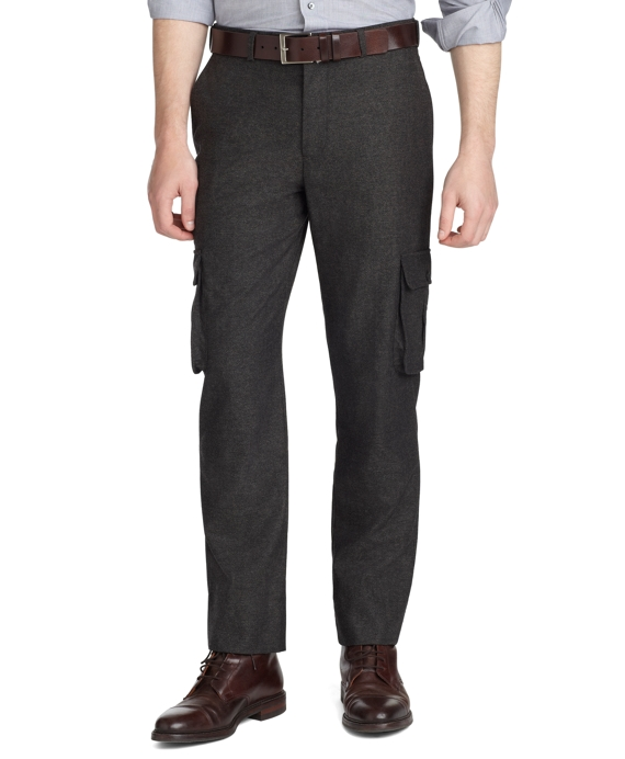 Milano Fit Plain-Front Donegal Tweed Trousers Brown