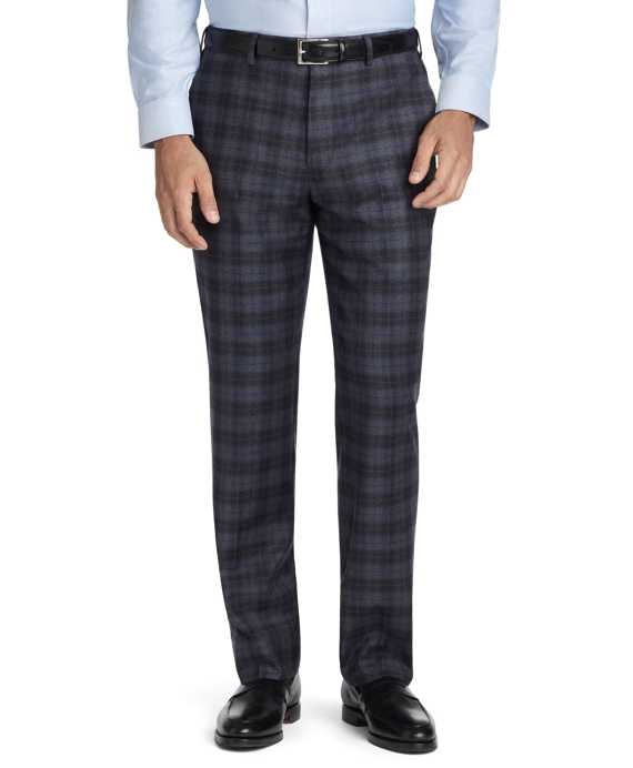Fitzgerald Fit Plain-Front Plaid Dress Trousers Grey