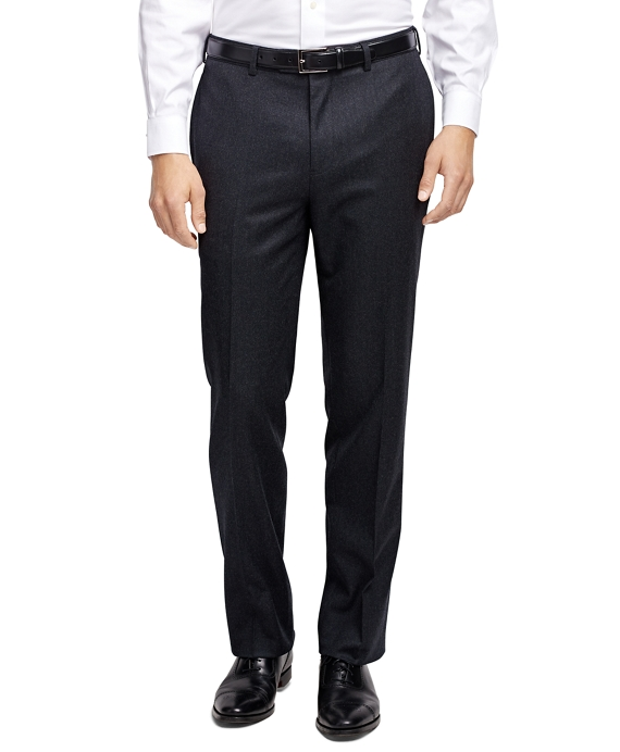 Fitzgerald Fit Plain-Front Flannel Trousers Charcoal