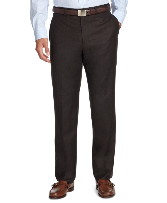 Fitzgerald Fit Plain-Front Flannel Trousers Chocolate