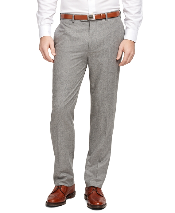 Fitzgerald Fit Plain-Front Flannel Trousers Grey