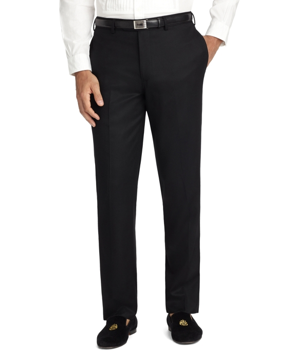 Fitzgerald Fit Plain-Front Flannel Dress Trousers Black