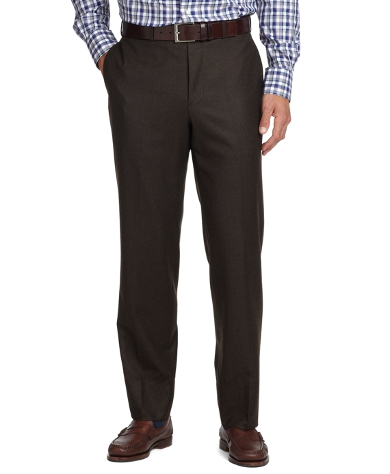 Fitzgerald Fit Plain-Front Flannel Dress Trousers Dark Brown