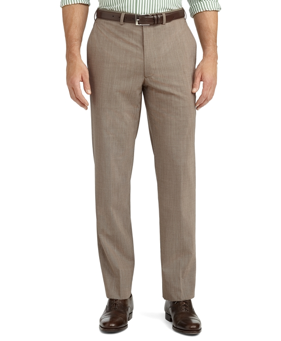 Fitzgerald Fit Plain-Front Houndstooth BrooksCool® Dress Trousers Tan