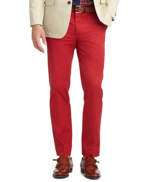 Milano Fit Plain-Front Dress Chinos Red