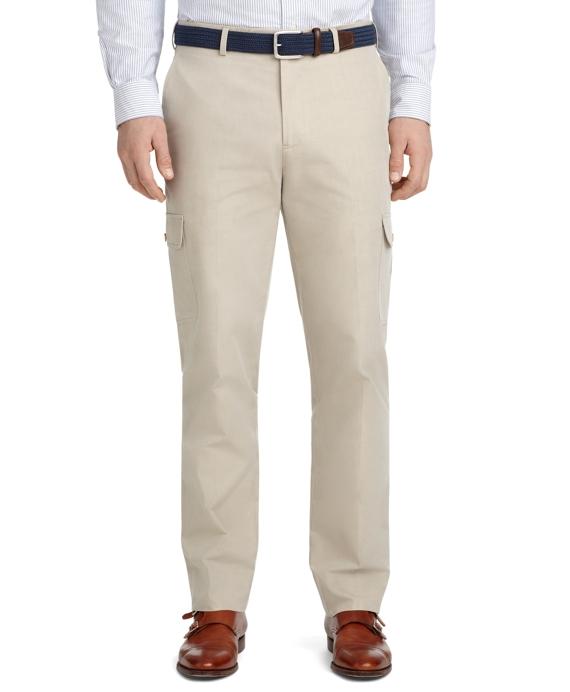 Milano Fit Plain-Front Cotton Cargo Pants Tan