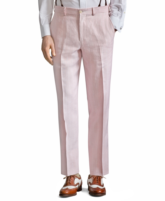 The Great Gatsby Collection Pink Stripe Linen Trousers Pink