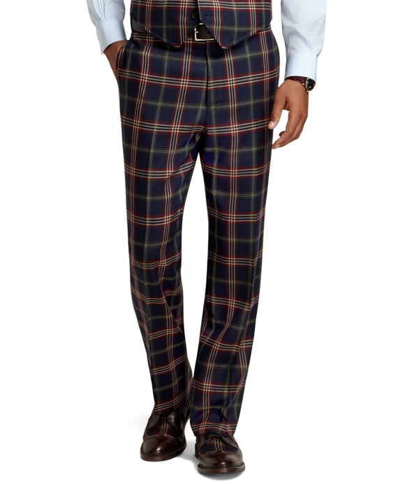 Madison Fit Signature Tartan Plain-Front Dress Trousers Navy