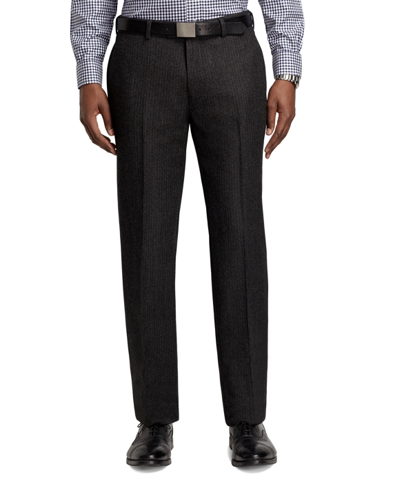 Milano Fit Tic Plain-Front Dress Trousers Charcoal