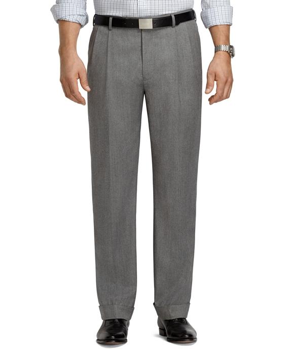 Madison Fit Pleat-Front Grey Mini Herringbone Trousers Grey