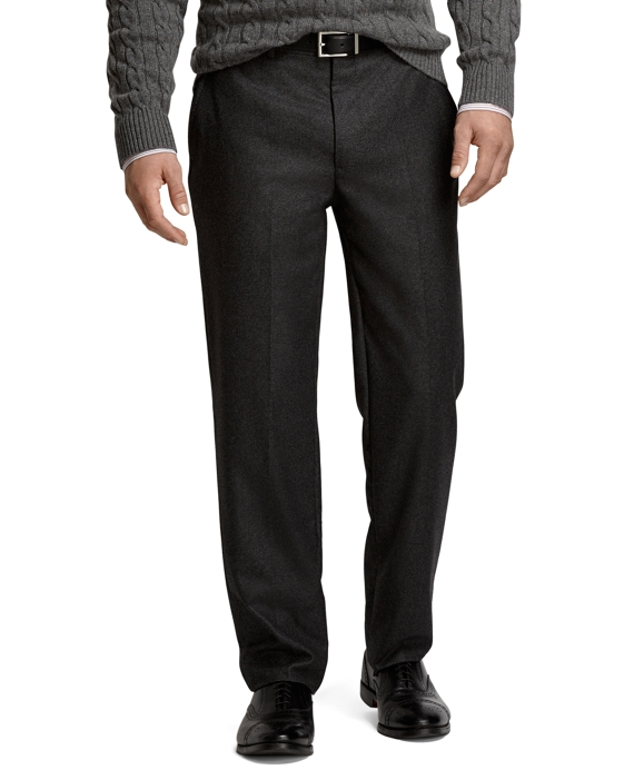 Madison Fit Saxxon Wool Flannel Plain-Front Dress Trousers Grey