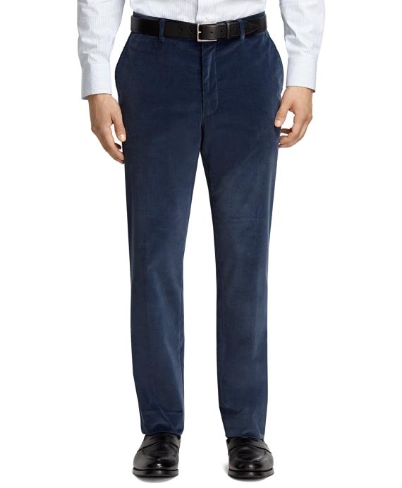 Plain-Front Blue Corduroy Trousers Blue