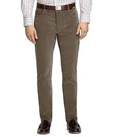 Plain-Front Taupe Five-Pocket Corduroy Trousers