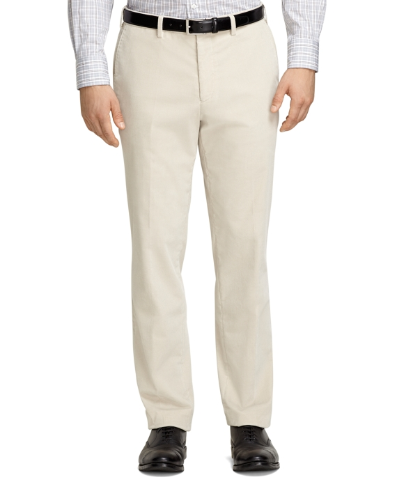 Plain-Front Cream Corduroy Trousers Cream