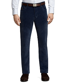 Plain-Front Blue Five-Pocket Corduroy Trousers