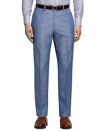 Blue Linen and Cotton Dress Trousers